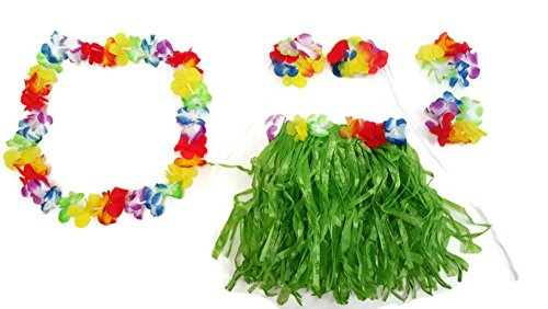 Playscene Hawaiian Summer Luau Party Child Hula Skirt Kit (5 Piece Kit) (Child Hula Skirt Kit)