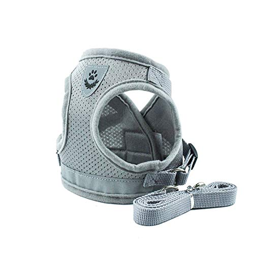 Deggodech Pet Vest Harness Dog Harness and Lead Set Small Adjustable Soft Mesh Reflective Escape Proof Cat Walking Harness With Leash for Pet Cat Dog Outdoor Training (S, Mesh Grey)