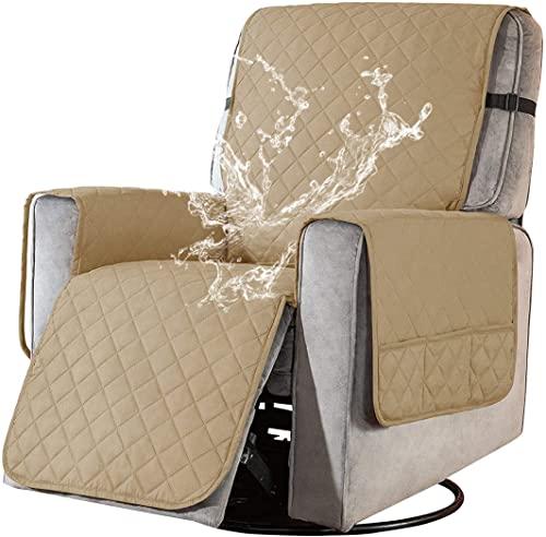 Wasserdicht Sesselschoner für Fernsehsessel Relaxsessel, 1 Sitzer Fernsehsessel Überwurf mit Taschen Sesselauflage Relax rutschfest Sesselüberwurf Armlehnenschoner für Hunde Haustieren