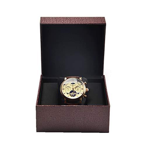 YZSHOUSE Single Leder Uhrenbox, Schwarzes Seidentuch Favorit Geschenkbox, Uhr Vitrine, Uhr Aufbewahrungskiste, Fuchsie