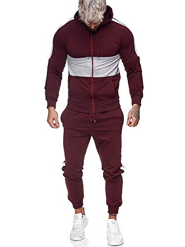 Code47 | Herren Trainingsanzug | Jogginganzug | Sportanzug | Jogging Anzug | Hoodie-Sporthose | Jogging-Anzug | Trainings-Anzug | Jogging-Hose | Modell JG-1081 Bordeaux-Grau S