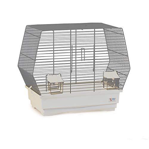 decorwelt Vogelkäfige XL Weiß Außenmaße 47,3x25,5x39,5 cm Urlaub Reisekäfig Zubehör Wellensittich Futternapf Kanarienkäfig Plastik Vogel Modell 004