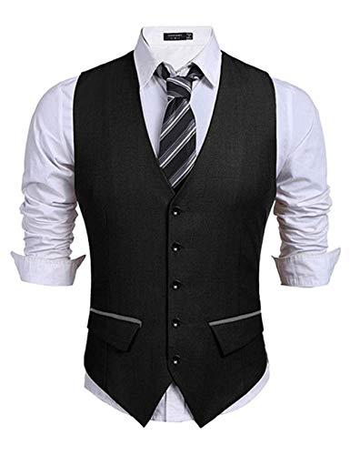 COOFANDY Men's Business Suit Vest Slim Fit Dress Vest Wedding Waistcoat Black
