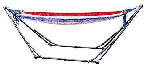 Mediablue Hängemattengestell Komplettset | Hängematte aus Baumwolle in Beige inkl. stabilem Stahlgestell in Schwarz | Liegefläche ca. 190x80