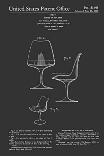 Mid Century Modern Eero Saarinen Tulip Chair Patent Design Notebook: (110 Pages, Lined, 6 x 9)