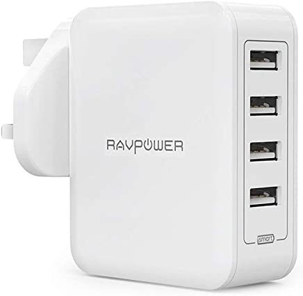 RAVPower Wall Charger, 40W 8A 4-Port USB Plug Charger with iSmart 2.0 for iPhone XS/XR/XS Max/8/8 Plus, Galaxy S9/S8/Note 8, iPad, Tablet, Power Bank and More–White