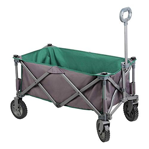 PORTAL Collapsible Folding Utility Wagon Quad Compact Outdoor Garden Camping Cart with Removable Fabric (Removable Fabric, Grey/Green)
