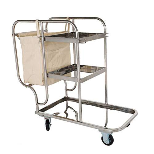 MTBH Edelstahl-Reinigungswagen, Reinigungswagen mit Tasche, Werkstattwerkzeug, Mehrzweckwagen zur Aufbewahrung von Reinigungsmitteln