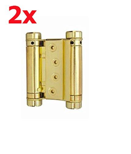 2x Stahl 75mm Messing Cover Pendeltürband Pendeltürscharnier Schwingtür Tür Scharnier