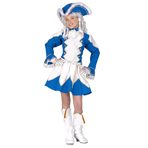 NET TOYS Garde-Kostüm Funkenmariechen für Kinder | Blau-Weiß in Größe 116, 4 - 5 Jahre | Extravagantes Mädchen-Outfit Tanzmariechen | Perfekt angezogen für Karneval & Fasching