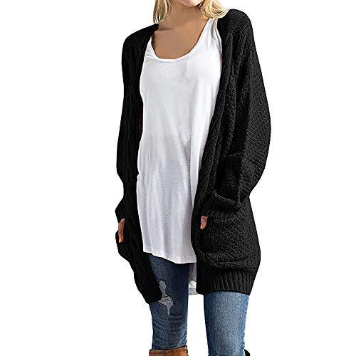 iHENGH Damen Kardigan Top,Ladies Lange ÄRmel Knitwear Open Front Cardigan Pullover LäSsige Oberbekleidung Outwear Coat Tops (EU-36/CN-S,Schwarz)
