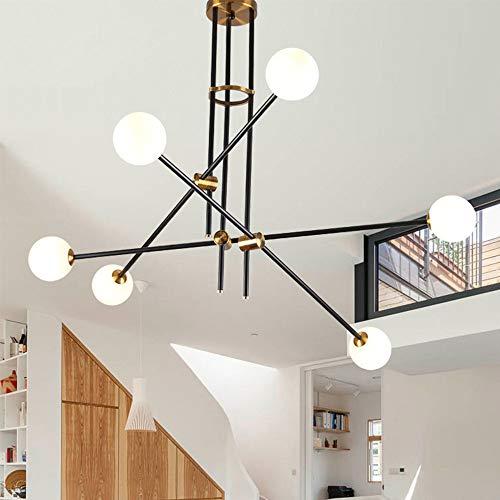 K.LSX 6-Heads Plafondlampen Sputnik Lamp Kroonluchter Vintage Hanglamp Bevestiging Satelliet Hanglamp voor Woonkamer Slaapkamer Studie Restaurant [Energie Klasse A++]