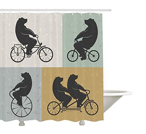 Yeuss Vintage Duschvorhang von Big Cute Bär auf Einem Fahrrad Radfahren Hipster Zirkus Leben im freien Tier genießen, Stoff Badezimmer Dekor Set mit Haken, Multicolor 72 'x 80'