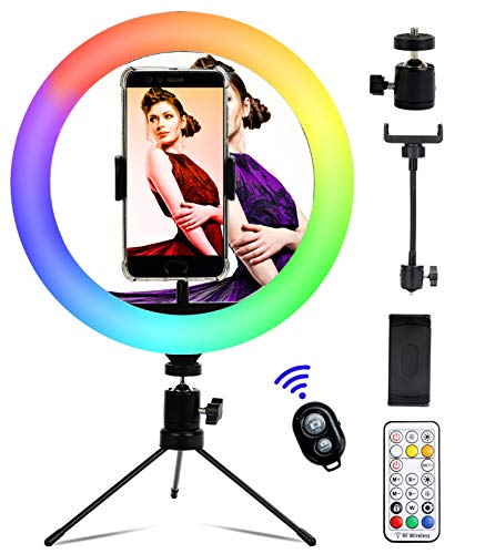 "10"" RGB Ring Light with Tripod Stand, Dimmable Desk Makeup Selfie Ring Light, LED Light Ring with Cell Phone Holder for Live Stream/YouTube/Video/Makeup, 25 Colors&3 Light Modes&9 Brightness Level"