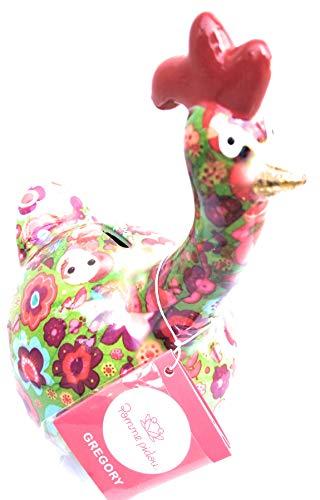 Apfel-Pidou-Spardose aus Keramik, Huhn, Gregory, grüner Boden, Elefantenblüten, 16,3 x 10,5 x 18,3 cm
