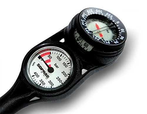 Sopras Sub, SPG Gauge 2 Pressure and Compass, Mini Gauge Analog Metric BAR 1.5 inch, Scuba Diving, Console
