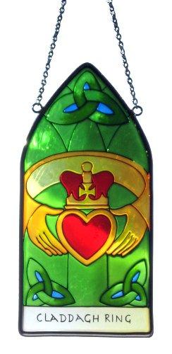 Buntglas Panel | Irisch Handgemalt Fenster Glasmalerei | Liebe und Freundschaft Sonnenfänger mit Claddagh Ring und Trinity Knot Design von Royal Tara