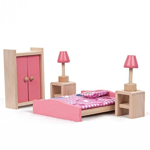 Toyvian - Camera da letto, in miniatura, per mobili per casa delle bambole in legno, per imparare i giocattoli dei bambini, idea regalo per bambini