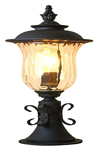 LWJPP Europeo de iluminación del anuncio linterna E27 moldeada Pilar Calle Aluminio jardín de la luz de la lámpara del bolardo Loft exterior al aire libre de la lámpara for el jardín, césped, Camino