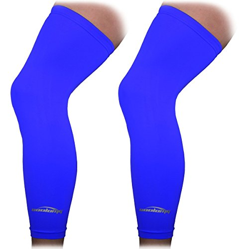 COOLOMG Beinlinge Knielinge Kompression Kniewärmer Radsport Basketball Fußball UV Sonnenschutz Anti Rutschen für Herren Damen Kinder Jugend Blau M (1 Paar)