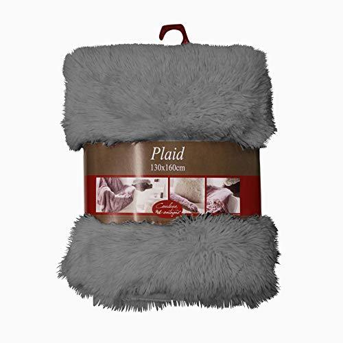 couleur montagne plaid 130x160cm imitation fourrure marmotte gris