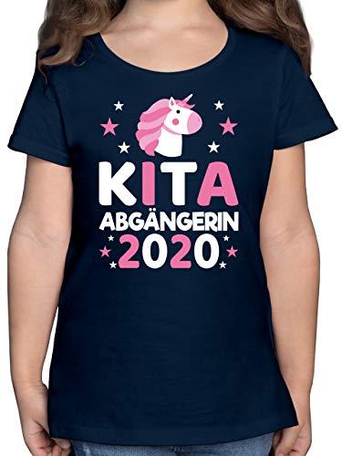 Einschulung und Schulanfang - Kita Abgängerin 2020 rosa Einhorn Sterne - 128 (7/8 Jahre) - Dunkelblau - Kita-Abgänger - F131K - Mädchen Kinder T-Shirt