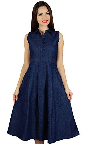 Bimba damska sukienka bez rękawów plisowana o linii A z kieszeniami codzienna dżinsowa sukienka koszula