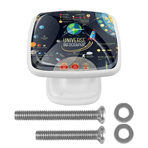 [4 unidades] Tirador de cajón de cristal con tornillos para el hogar, oficina, armario, armario, planetas del espacio exterior del universo