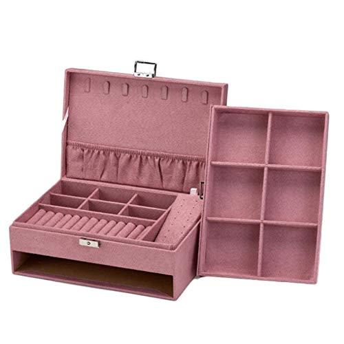 gerFogoo Joyero de madera grande organizador de joyas, collares, pendientes, pulseras, expositor con cajón, color rosa
