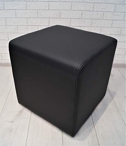 Quattro Meble Schwarz Echtleder Hocker 45x45x45cm Sitzhocker Rindsleder Sitzwürfel Fußhocker Polsterhocker Echt Leder Puff