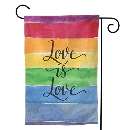 YISHOW Love is Love Gay Pride Lesbian Rainbow Flag Garden Flag Double Sided Vertical Love is Love Gay Pride Lesbian Rainbow Flag House Flags Yard Signs Outdoor Decor 28'X40'