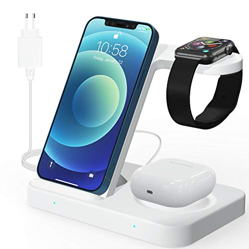 Kabelloses Ladegerät (Mit QC3.0 Adapter), 3 in 1 Wireless Charger, Qi 15W Induktive ladestation Kompatibel mit Apple iWatch 6/5/4/3/2/1, Galaxy Buds, Airpods Pro, iPhone 12/11/11 Pro/XS/XR/X/8, Weiß