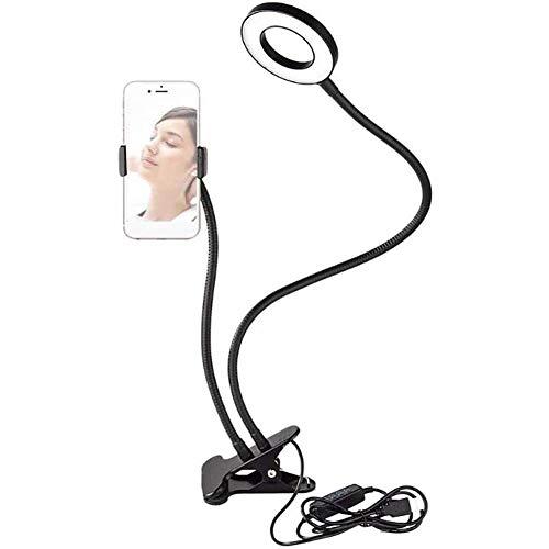 3-Licht-Modi 10 Stufen Helligkeitsanpassung, Selfie Flash Ring Licht Handyhalter, Online-Chat-Make-Up 360 Rotierende Flexible Lange Arme,A