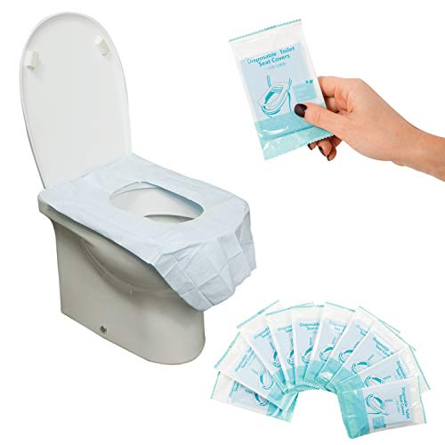 jean jacque Copriwater Usa e Getta - 30 Copri Tazza WC Monouso Impermeabili con Adesivo in Buste Singole - Copriwc in Carta e Plastica PE Resistenti e Antiscivolo