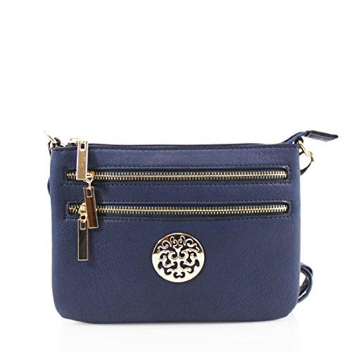 Craze London Womens Small Clutch Bags Ladies Wristlet With Long Shoulder Straps Shoulder Bags (navy)