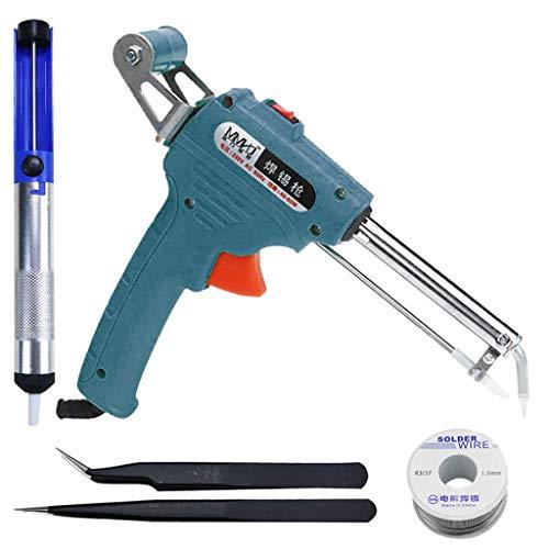 Semiautomatic Soldering Iron Gun Kit - 110V 60W Automatic Send Tin Heat Gun-Type Soldering Station Welding Tool Fast Heating,with Desoldering Pump,Tweezers,Tin wire (Blue)