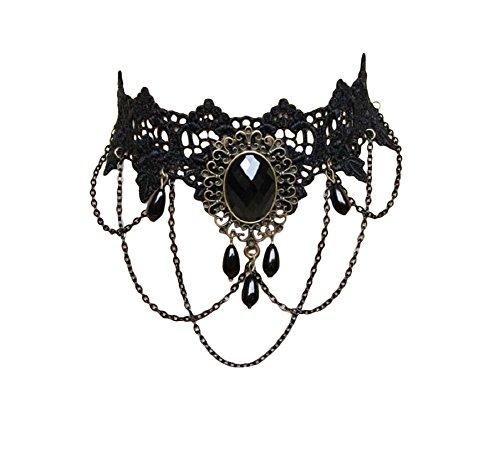 Unbekannt Gothic Choker Kette Halsband Spitze Punk Halskette Collier Schwarz -