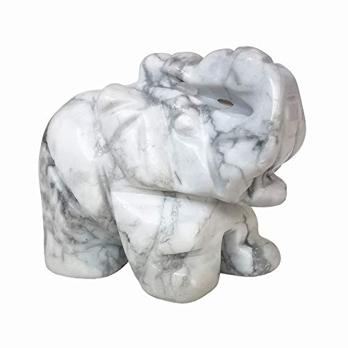 'N/A' 1 Pcs Natural White Howlite Turquoise Elephant Crystal Decor, Pocket Crystals and Healing Stones Figurine 1.5 Inches Room Decor