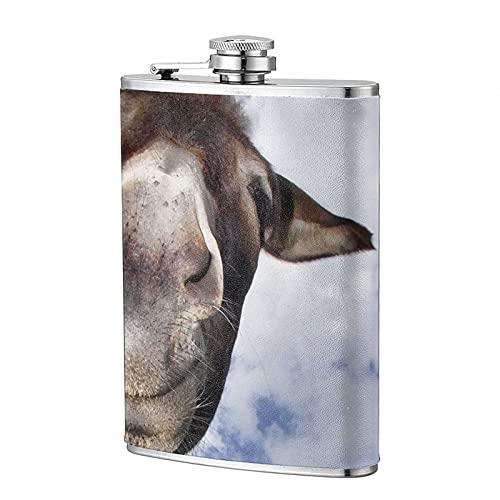 mengmeng Donkey with Fun - Petaca portátil de 8 onzas de bolsillo de acero inoxidable, frasco de bolsillo para whisky para escalada, camping, barbacoa, bar, fiesta, bebedor