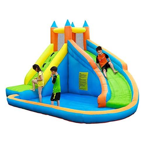FGVDJ LuoMei Castillo Inflable de trampolín para niños Toboganes inflables con rociador de Agua Mini Escalada en Roca al Aire Libre y en Interiores Castillos Travieso