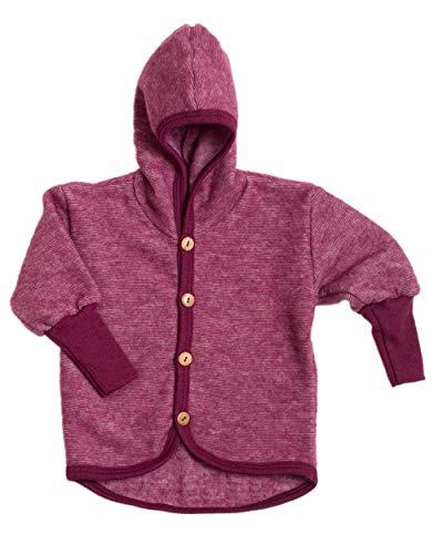 Cosilana Baby Jäckchen mit Kapuze aus weichem Wollfleece, 60% Schurwolle kbT, 40% Baumwolle (KBA) (86/92, Weinrot Melange)