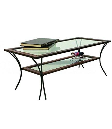 Spazio Casa Tavolino da Salotto in Legno con Piedi in Ferro Battuto Ripiani in Vetro - Noce, 90 x 50 H. 50