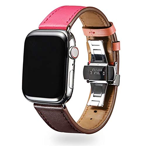 FAAGFC For Cuero Loop de IWatch Correa de IWatch for Band Series 6 SE 5 4/3/2/1 38mm 40mm 42mm 44mm Pulsera de muñeca (Band Color : Wine Rose, Band Width : For 38mm and 40mm)