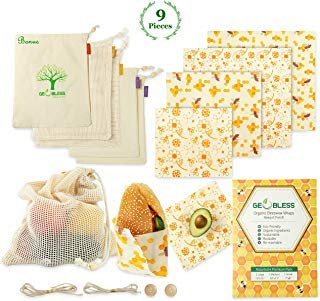 Geobless Beeswax Wraps and Reusable Produce Bags (8-Pc....