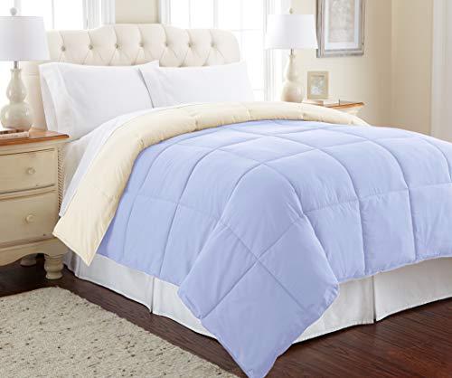 Amrapur Overseas Edredón reversible de microfibra alternativa de plumón de ganso, Moderno, Azul/ Crema , Completa/Queen, 1, 1