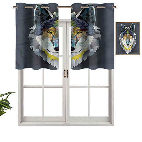 Hiiiman Thermal Insulated Draperies Valance Curtain Panel Wolf Coyote Portrait Art, Set of 2, 54'x36' for Living Dining Room Decoration