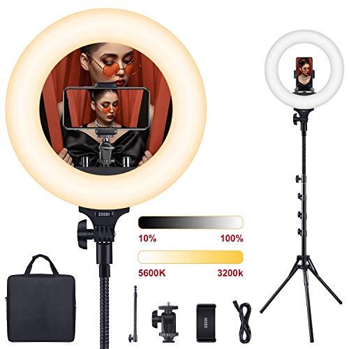 LED Ringlicht, ESDDI Dimmbares bi-Color 3200-5600K, 45W 360 LEDs Ringleuchte mit Lichtstativ Handyhalter und biegehalterung für YouTube Video