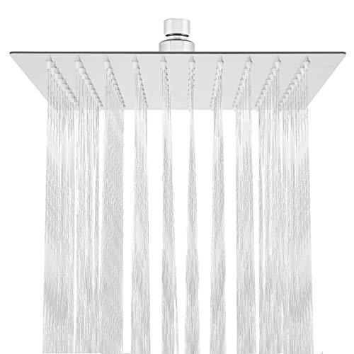 HAUSPROFI Ducha de lluvia fija de 10 pulgadas/25 cm, forma cuadrada en acero inoxidable, acabado en cromo pulido