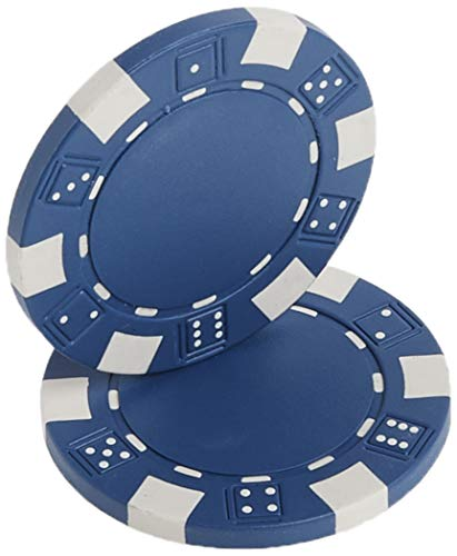 Brybelly 50 Clay Composite Striped Dice 11.5 Gram Poker Chips, Blue