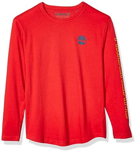 Timberland Jungen Long Sleeve Heathered Jersey Knit Tee Shirt Hemd, Cherry, Mittel